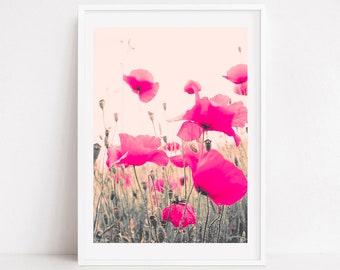 Girl room wall art, girls room decor, girls room art, pink wall art, extra large wall art, wall art canvas art, girl nursery art girl floral