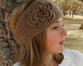 "Tunisian ""Knit-Look"" Crochet Headband Pattern with Flower - Tunisian Crochet Headband Earwarmer Pattern with Flower - Instant Download"