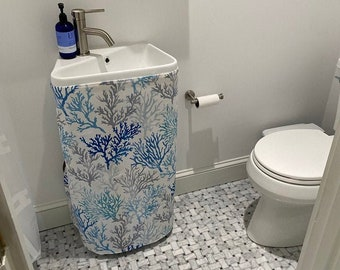 Pedestal Sink Skirt / Sink Curtain Skirt / Bathroom Sink Skirt - Under Sink Curtain Bathroom Decor Home Decor - Laundry Sink / Utility Sink