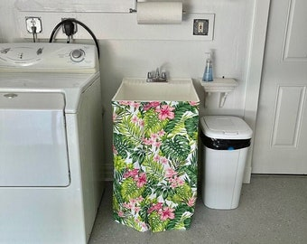 QUICK SHIP * Laundry Sink Skirt / Bathroom Sink Skirt - Sink Curtain / Powder Room Sink Skirt - Pedestal Sink / Utility Sink - Sticky Back