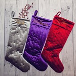 Set of 3 - Custom Large Velvet Christmas Stockings - Monogrammed / Embroidered - Trio - Personalized - Handmade Stocking - Christmas Mantel