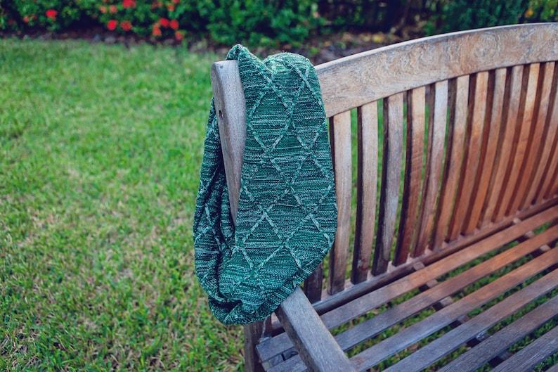 Infinity Scarf  Hunter Green Knit  Heavyweight Scarf  Knit image 0