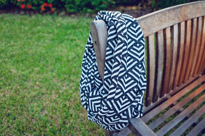 Infinity Scarf  Black / White Geometric  Heavyweight Scarf  image 0