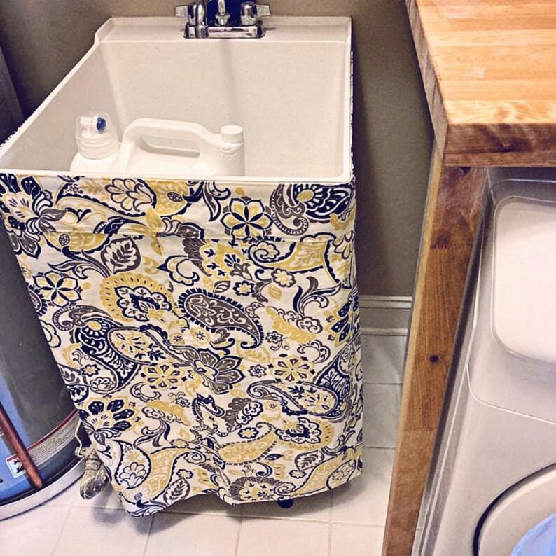 QUICK SHIP  Pedestal Sink Skirt / Bathroom Sink Skirt  Sink Filigree Butter