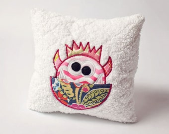 Girl Tooth Fairy Pillow - Friendly Monster Design - Soft Embroidered Pillow - Cuddly Bed Pillow - Personalized Pocket - Monogram Option