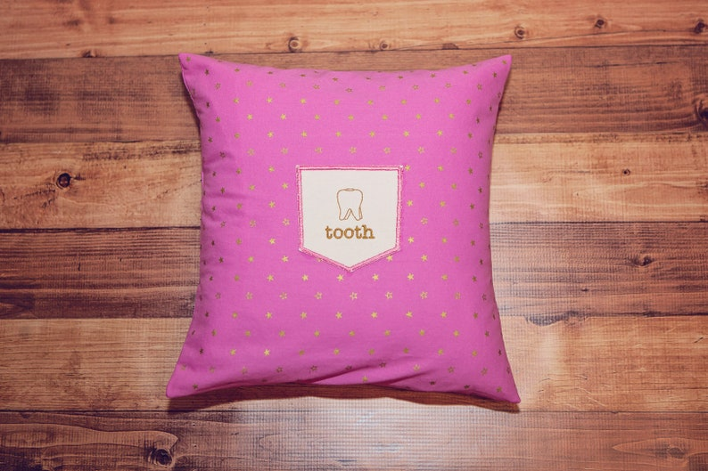 Tooth Fairy Pillow  Embroidered Pillow Cover  Tooth Pocket  image 0