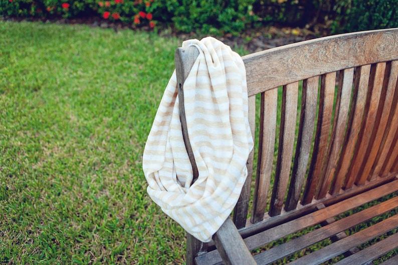 Infinity Scarf  Tan / Cream Stripe  Lightweight Knit Scarf  image 0