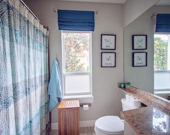 Faux Roman Shade / Flat Roman Shades - Stationary Roman Shade Window Treatment / Window Valance / Curtain - Home / Kitchen / Bathroom Decor