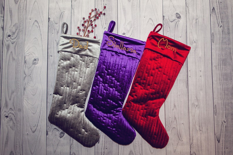 Set of 3  Custom Large Velvet Christmas Stockings  image 0
