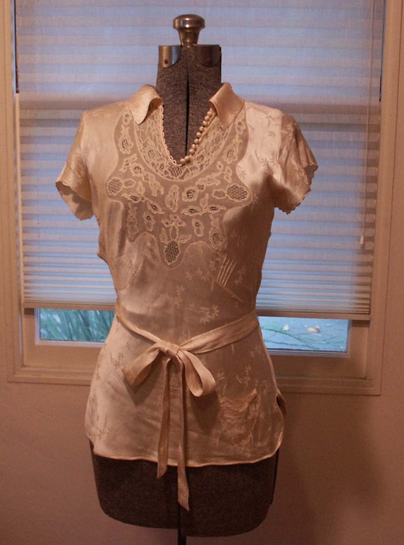 1930's silk brocade blouse