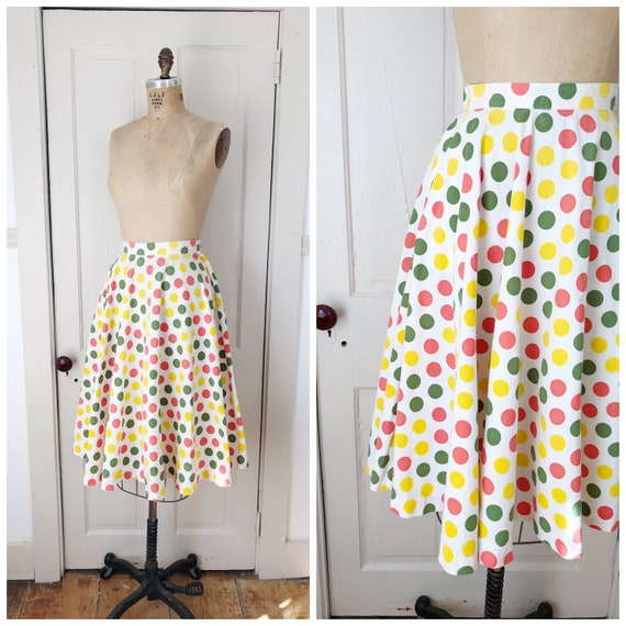 Carnival Candy 1950s White/Green/Yellow/Red Polka