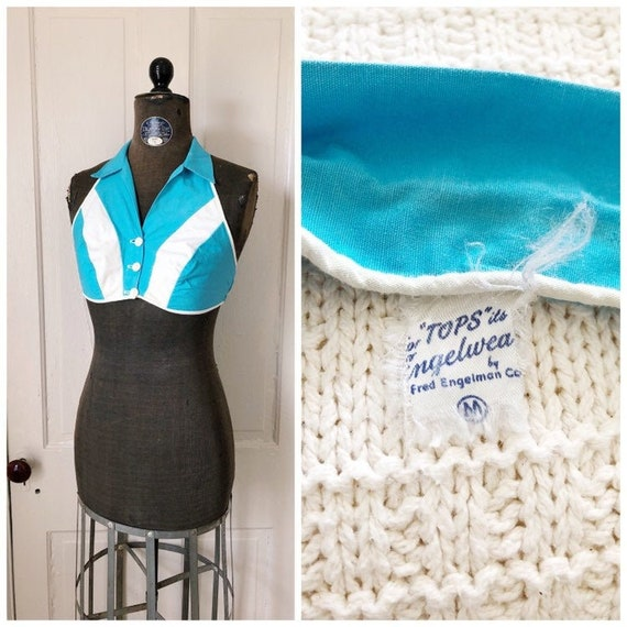Pool Days 1950s Aqua & White Cotton Button Front H