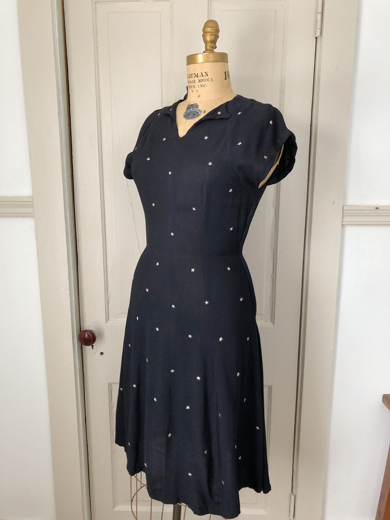 Bewitched By You 1940s Black Dress with Silver Metal Star Studs