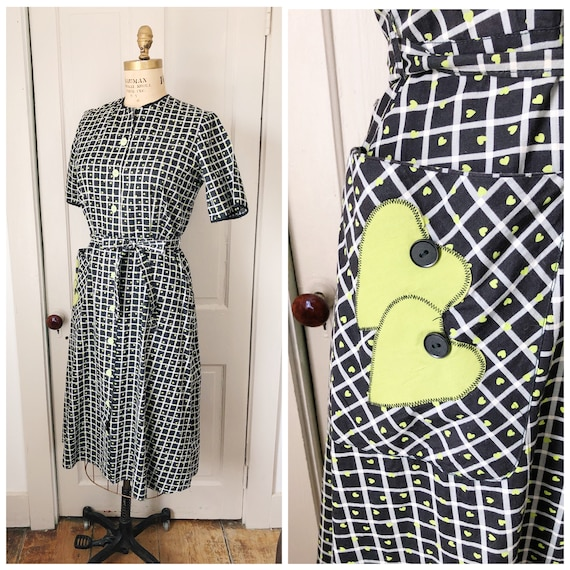 Hello, Love 1950s Black and White Plaid/Lime Green