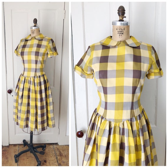 Chestnut Hill 1940s/1950s Short Sleeve Yellow & Br