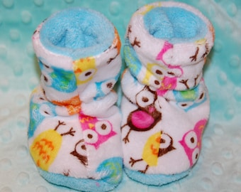 Girl Owl Minky baby booties - Baby Girl Slippers - Liner warm cuddle minky - 0/6 Mo or 6/12 Mo size -