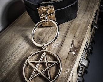 Gold 666 666 gold vegan leather Choker
