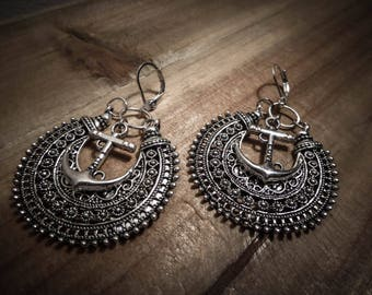 Small silver anchor tribal hoops boho chic ☥ Sailor Jerry ☥