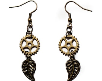 Bronze steampunk Nature earrings