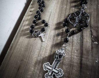 Inverted Cross Skullbird Baphomet Rosary chaplet