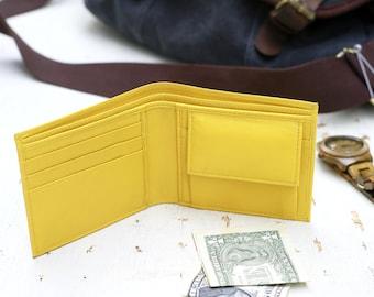Yellow Wallet, Coin Pocket Wallet, Men Cash Wallet, Leather Wallet, Bifold Wallet, Small Wallet, Minimalist Wallet, Casual Wallet