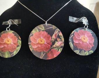 Navy rose earring set