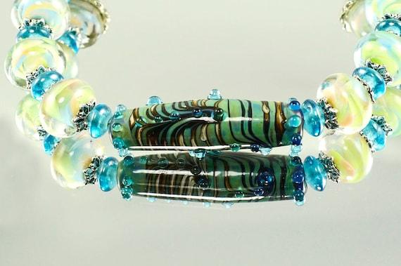 b027f921f9358 Lampwork Glass Bracelet, Blue Glass Beads, Smooth Feel, Feminine Jewellery,  Unusual Bracelet, OOAK, Etsy UK
