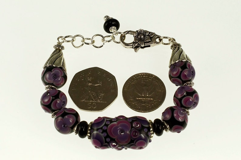 Purple Unusual Bracelet Lavender and Black Lampwork Glass Bracelet Feminine Jewellery Smooth Feel Etsy UK Red Black White Glass Beads