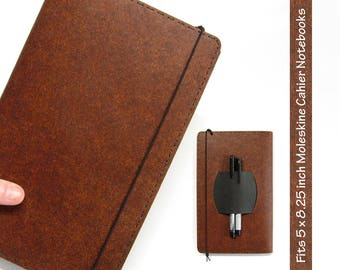 Large Kraft-tex Vegan Moleskine Cahier Notebook Cover w/ Pen Holder - Heather Brown - Fits 5 x 8.25 inch Cahiers