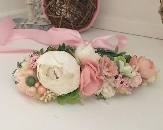 Pink flower crown- Flower Girl Headband- Floral crown- Bridal Flower Crown- Flower Girl Crown