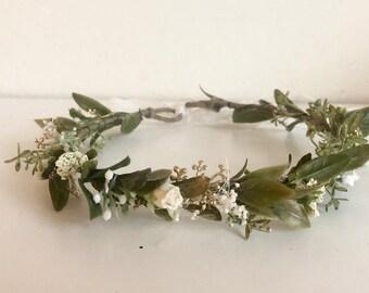 Greenery Flower Crown- Boho Flower Crown- Baby Flower Crown