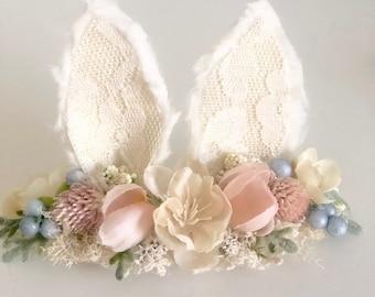 Bunny Ears- Ivory Bunny Ears- Newborn Bunny Ears- Easter Headband- Bunny Birthday- Ear Headband