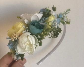 Flower Crown headband, flower crown, flower girl crown, Well Dressed Wolf,floral crown,yellow flower headband, flower halo, flower headiece