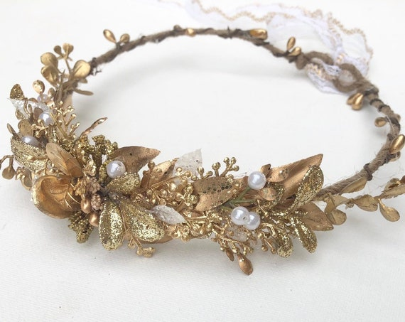 Gold Flower Crown- Bridal Flower Crown- Floral Crown- Baby girl Headband- Baby Flower Crown- Flower girl Flower Crown