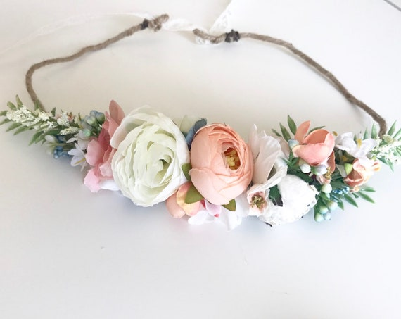 Peach flower crown- Wedding flower crown- baby flower crown- flower girl- bridal hair piece