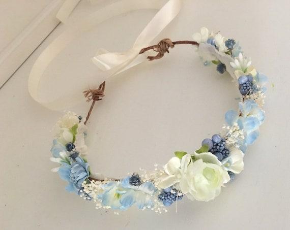 Dried Flower crowns- Blue flower Crown- bridal flower crown- Well dressed wolf- baby flower crown- Flower Girl crown- Flower Crowns