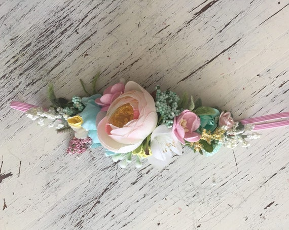 baby flower crown headband- Floral Headband- Flower Crown- m2m well dressed wolf- Baby Girl Headband- Baby Headband- Wdw Headband