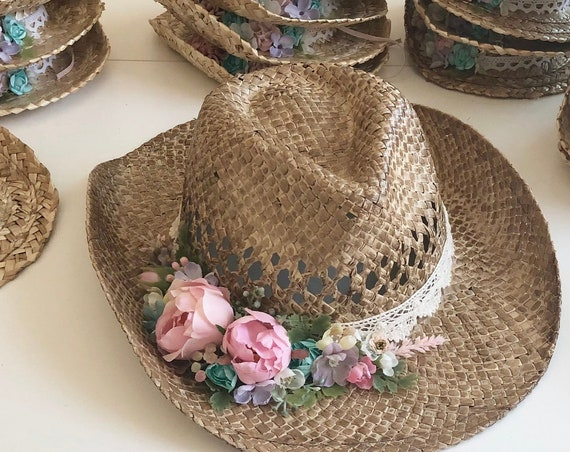 Floral cowgirl hat