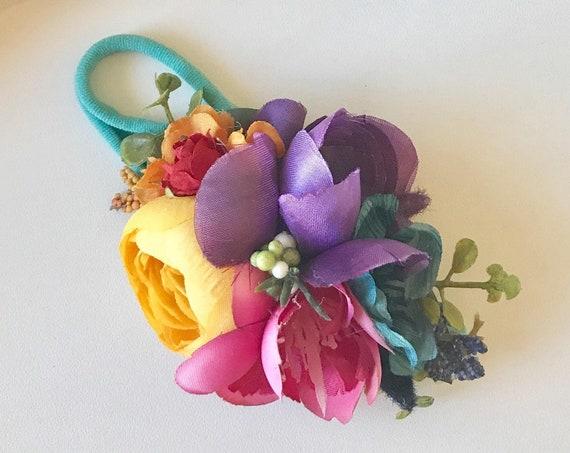 Rainbow Flower crown- Rainbow Headband-   Omijo Headband- baby flower crown- Flower Girl crown