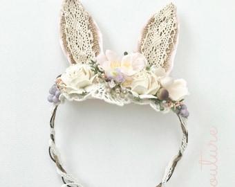 Lace Bunny Headband-  Bunny ears Headband- Bunny Ears- Easter Headband- Couture Headband- Avry Couture