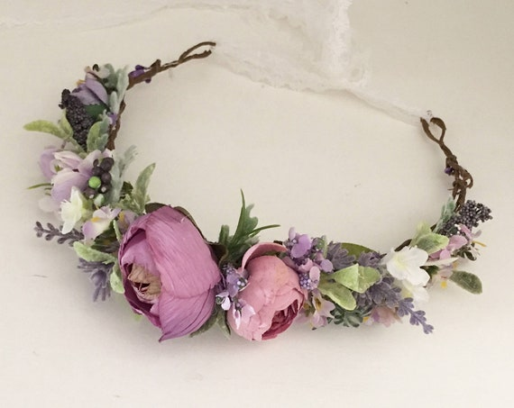 Purple Flower crown- Wedding Flower crown- Baby flower Crown- Flower Girl headband