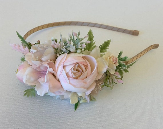 Flower Girl Headband- floral crown, flower girl crown