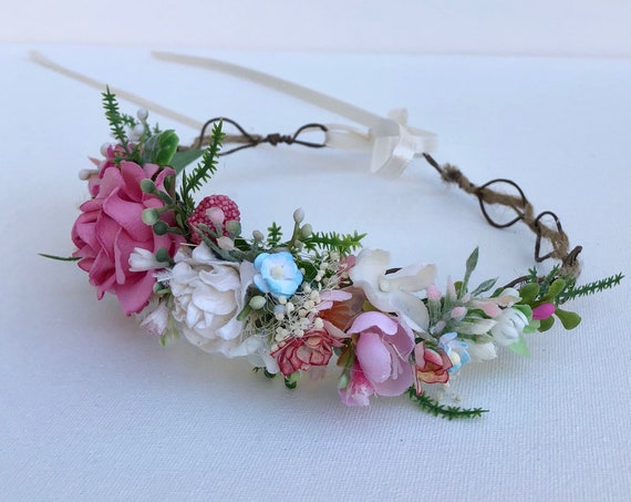 Pink Flower Crown- Floral Crown- Baby Flower Crown- Bridal Flower Crown- - Flower Crowns- Flower Girl Flower Crown- Newborn