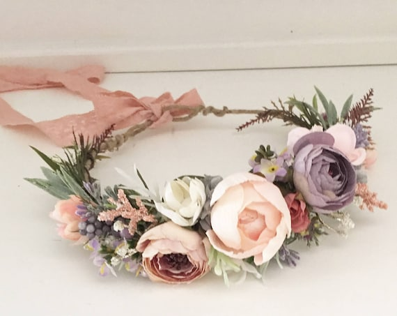 Blushing lilac flower crown