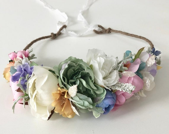 Pastel Rainbow Flower crown- Pleiades- Bridal flower crown- floral Crown- baby flower crown- Flower Girl- Well Dressed Wolf