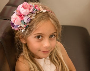 Pink Flower crown, floral crown, Pleiades flower girl crown, bridal crown