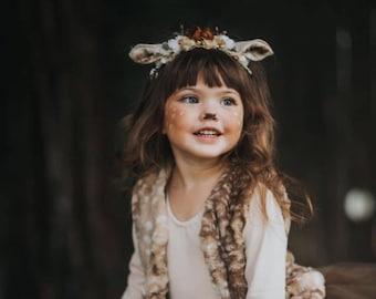 Fawn headband- fawn ears- fawn costume- deer headband- deer costume