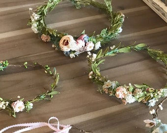 Natural greenery flower crowns