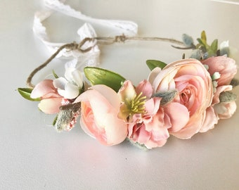 Coral Kate Flower Crown- Floral Crown- Baby Flower Crown- Bridal Flower Crown- Flower Crowns- Flower Girl Flower Crown- Newborn