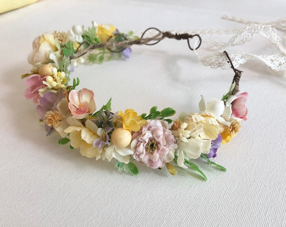 Flower Crown- Yellow baby Flower Crown- Flower Girl Flower Crown